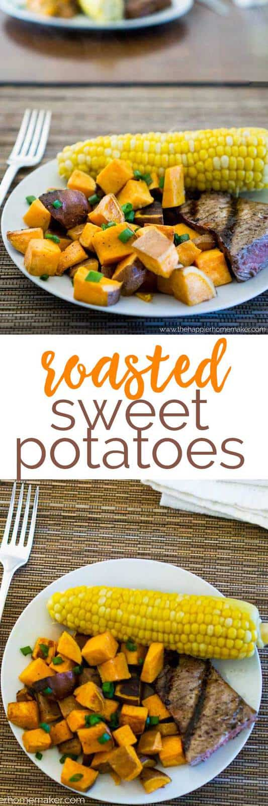 These simple roasted sweet potatoes are an easy healthy side dish option-even my kids love these!