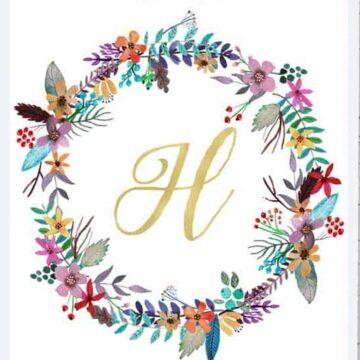 monogram inside floral wreath
