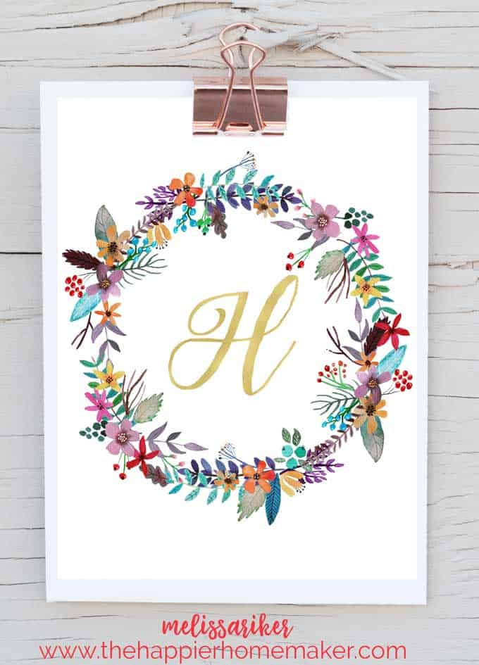 image relating to Free Printable Art called Cost-free Printable Monogram Artwork The Happier Homemaker