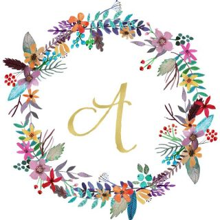 printable monogram floral wreath