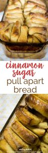 This cinnamon sugar pull apart bread is amazing! It's like a cinnamon roll in loaf form-one of my new favorite recipes, perfect for breakfast, dessert or coffee!