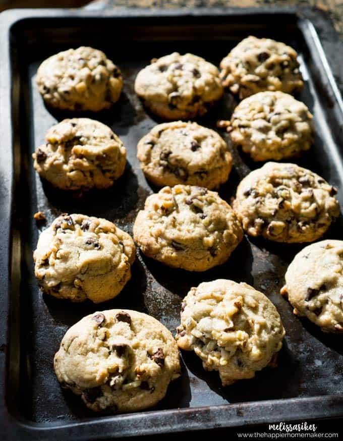 A close up of chocolate chips and walnuts in a baking pan