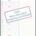 meal planning and shopping list worksheet