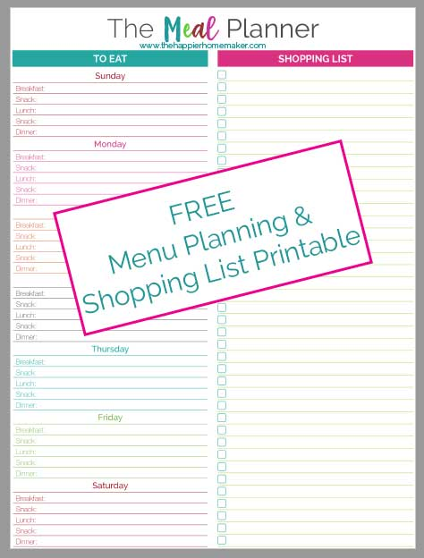 This free printable meal planner has a built in shopping list so you can add items to your list as you plan your menu. This has been a life saver for me recently, so glad I started using it!