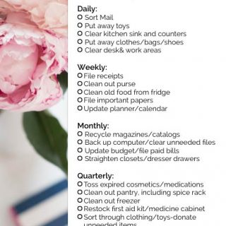 A daily, weekly, monthly and quarterly check list next to a picture of flower
