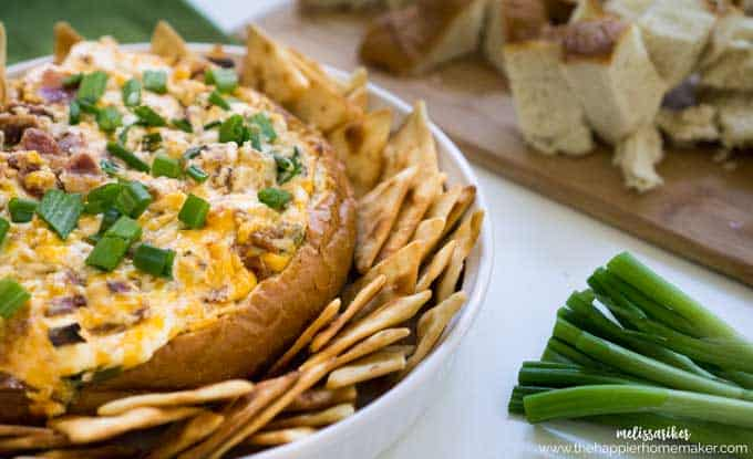Warm, cheesy Baked Bacon Cheddar Cheese Dip is the perfect appetizer recipe to throw together-just mix a few ingredients, pop it in the oven and impress your guests!