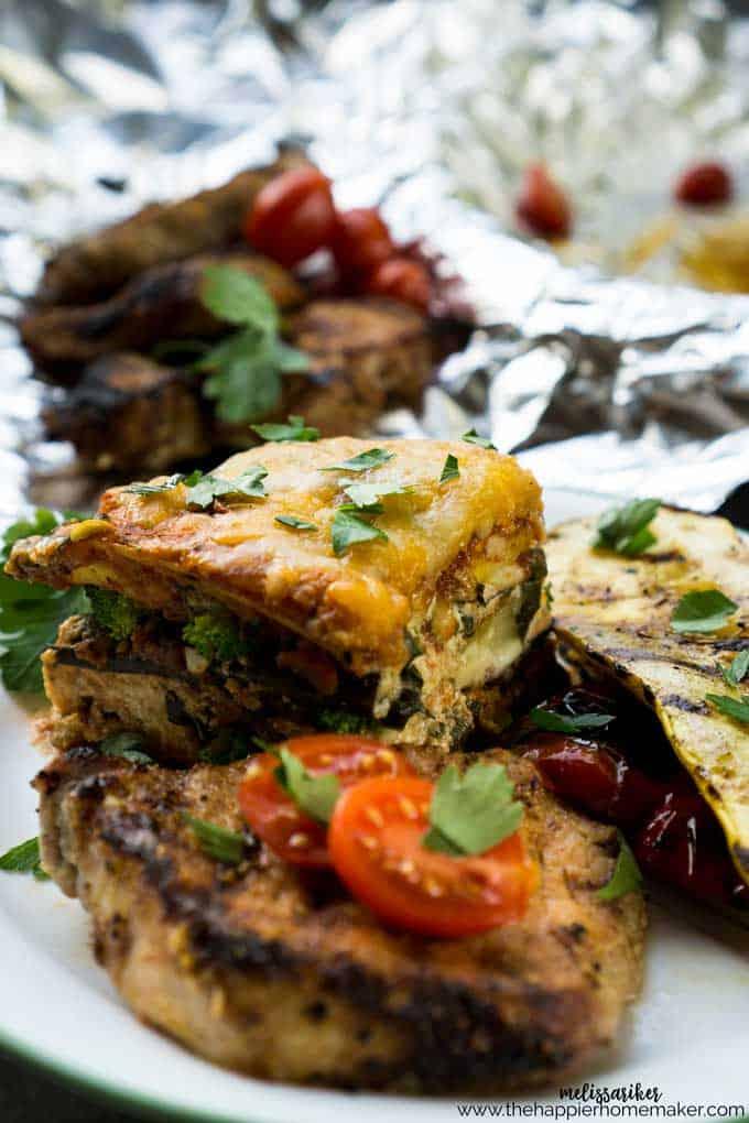 Grilled pork loin, vegetable lasagna and grilled squash