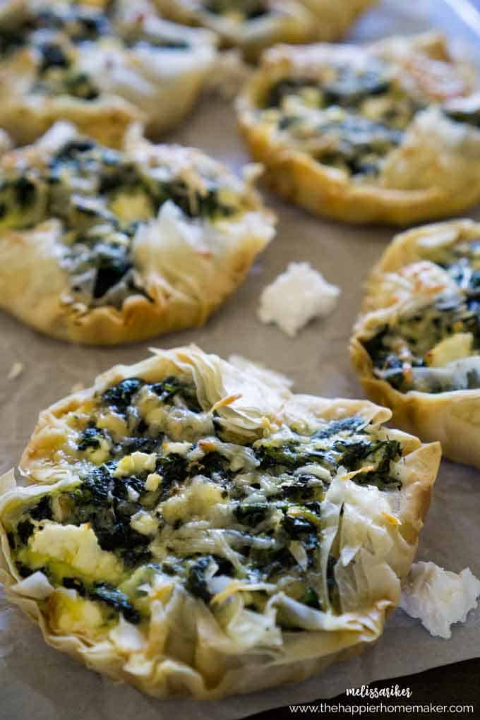 These spinach feta tarts are deceptively easy and make a fantastic appetizer or side dish-I even eat them for breakfast sometimes! The phyllo dough really makes the recipe so easy!