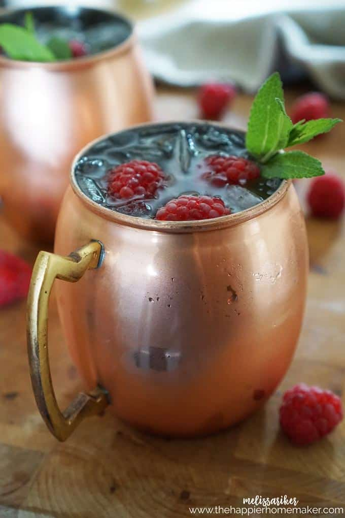Raspberry Moscow Mule Recipe a fun variation on a classic cocktail, perfect for summer cocktail hour!