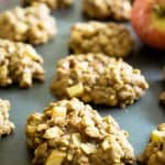 A close up of cinnamon apple oatmeal cookies