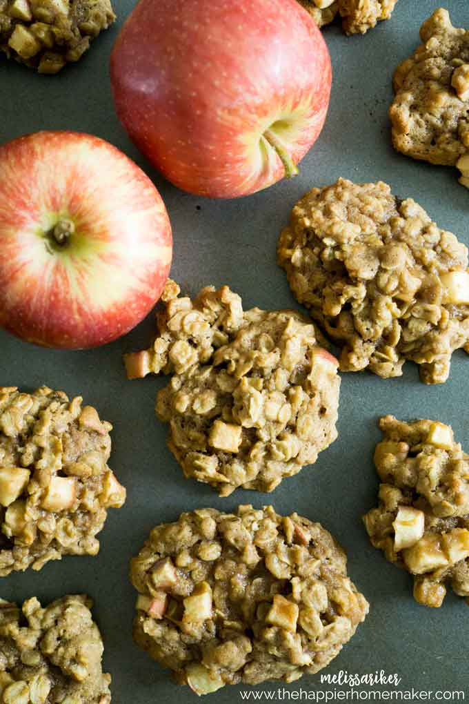 Cinnamon Apple Oatmeal Cookies are the perfect snack for fall (or anytime) Hearty, thick and flavored with apples and cinnamon.