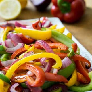 This easy recipe for oven roasted bell peppers is a healthy and simple side dish that takes only 20 minutes to get on the table!