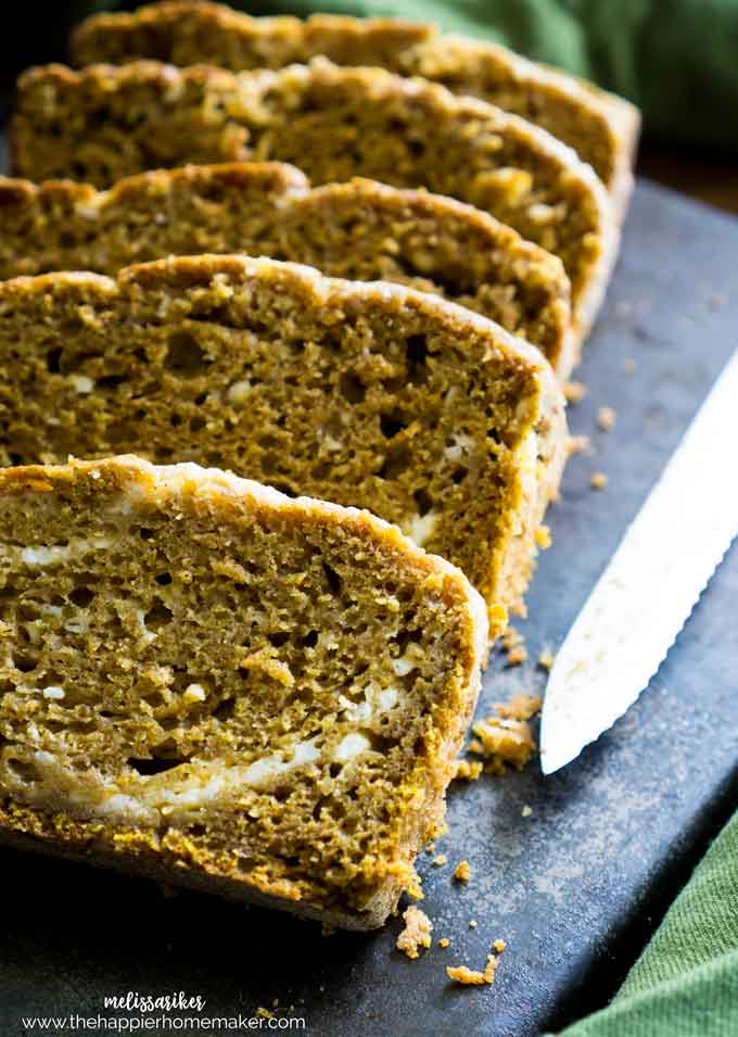 Moist, delicious pumpkin bread swirled with cream cheese makes the perfect autumn (or anytime) treat. It also makes your home smell like fall when it's baking!