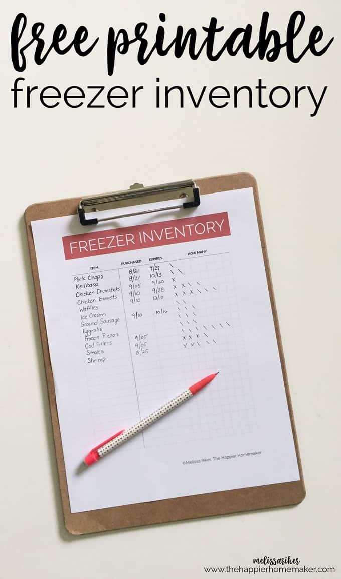 "a piece of paper titled ""Freezer Inventory\"" on a clipboard with a pen on it"