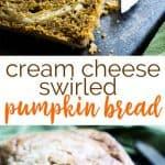 "A slice of swirled cream cheese pumpkin bread with the words ""cream cheese swirled pumpkin bread"" underneath"