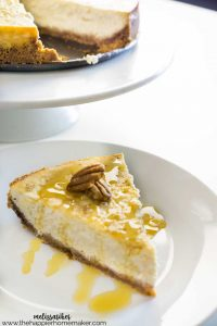 This Maple Vanilla Cheesecake is an autumn twist on the classic dessert recipe. Made with real Maple Syrup and a hint of pecan, it's sure to be a fall favorite!