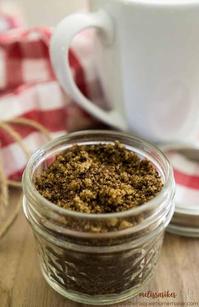 homemade brown sugar coffee scrub in a little mason jar