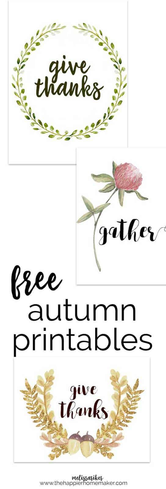 collage of free autumn printables