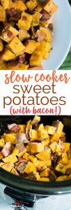 Slow cooker herbed sweet potatoes with crumbled bacon! I love crock pot recipes that make weeknight dinners easy!
