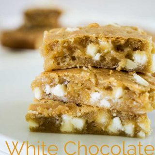 white chocolate blondies on parchment paper