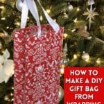 diy gift bag in front of christmas tree