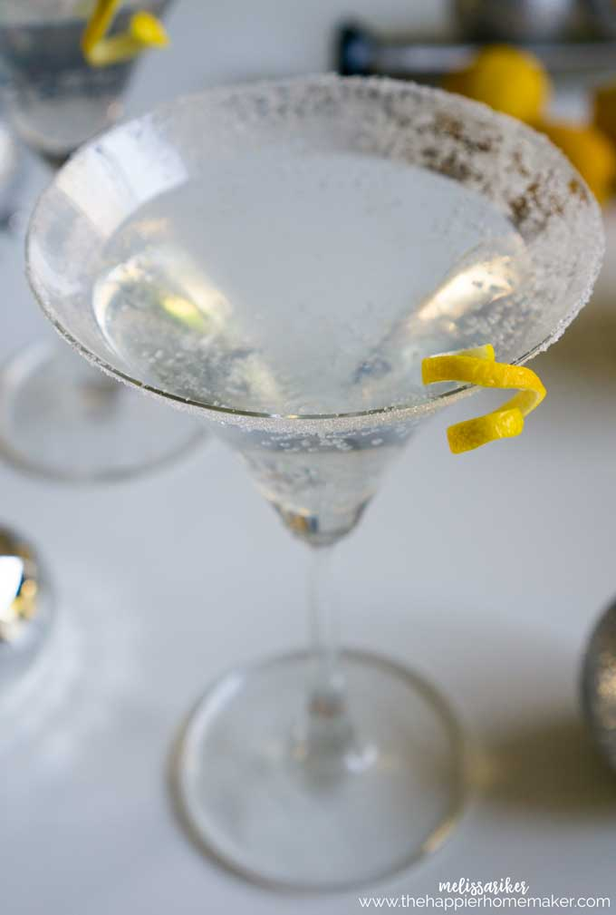 This Sparkling version of a classic Lemon Drop Cocktail is easy to make and always a crowd pleaser-vodka, triple sec, lemon and seltzer.
