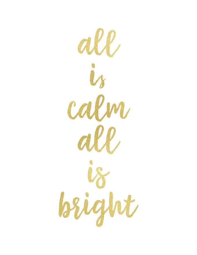 Christmas printable reading all is calm all is bright