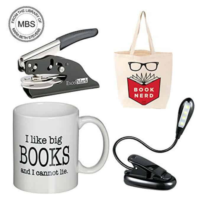 collage of book lover gifts
