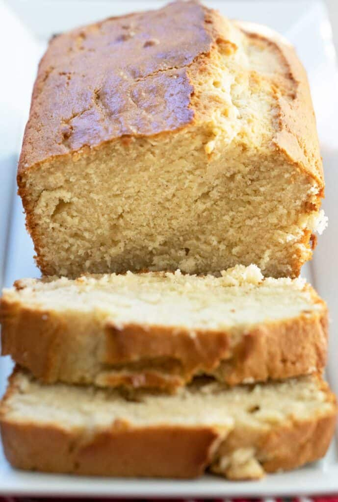 close up of sliced eggnog bread