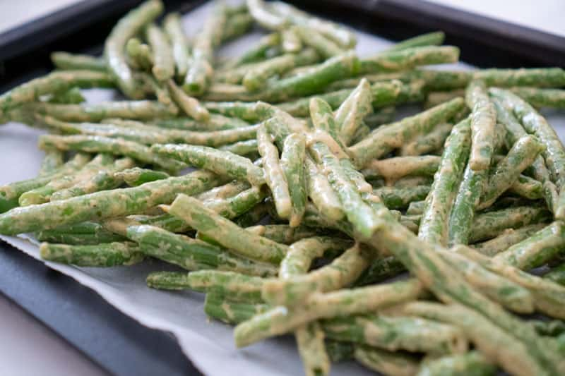 green beans with dijon sauce before roasting