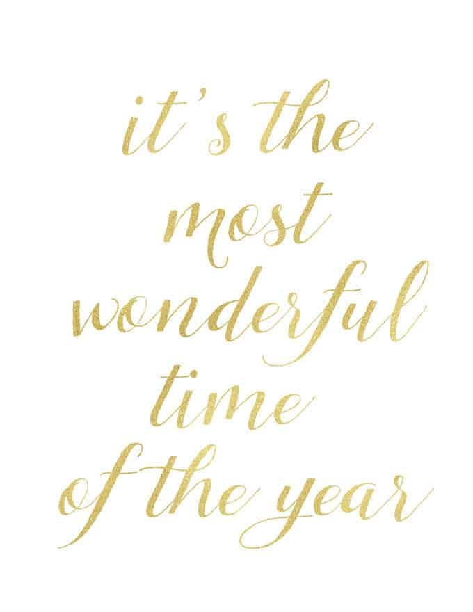it\'s the most wonderful time of the year written in gold script
