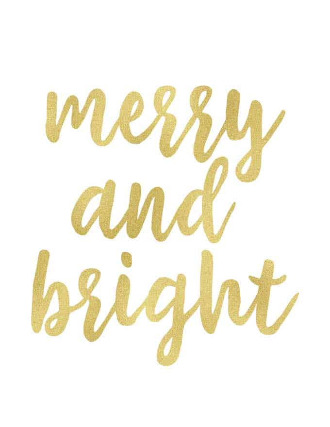 merry and bright written in gold script