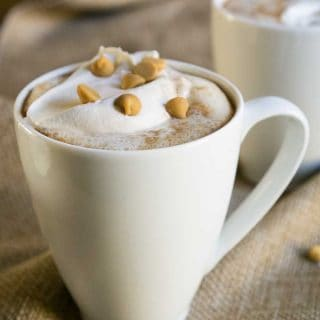 peanut butter hot chocolate in white mug with whipped cream and peanut butter morsels