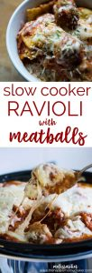 Slow Cooker Ravioli with Meatballs is an easy weeknight crockpot dinner the entire family will love!