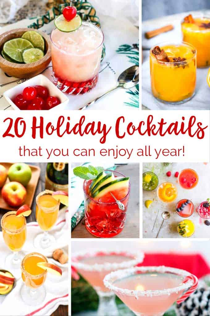 collage of holiday cocktails with text that says 20 holiday cocktails