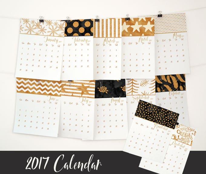 Free printable gold glitter 2017 calendar