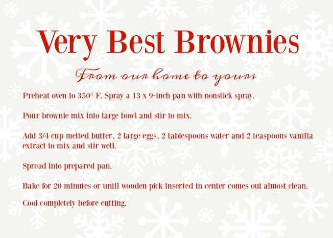 recipe card for brownie mix in a jar gift