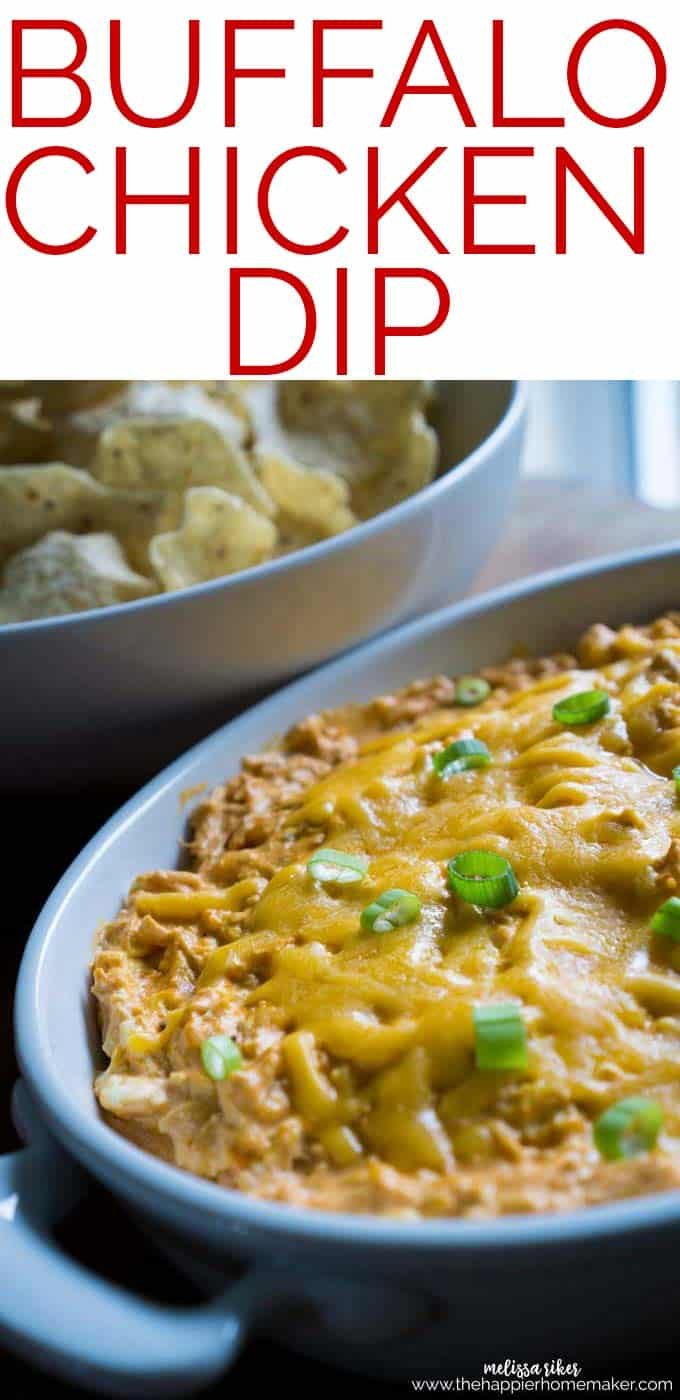 Buffalo Chicken Dip is all the flavor of buffalo chicken wings in a tasty dip form-great with crackers or tortilla chips and always the first appetizer gone at parties!