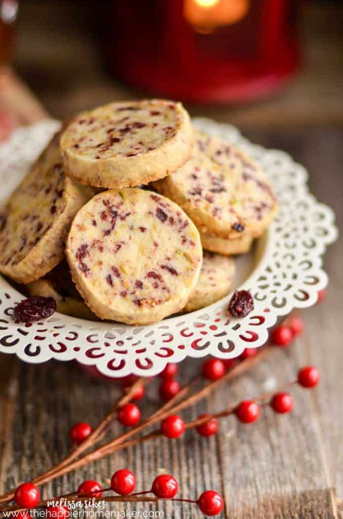 Cranberry Pistachio Shortbread Cookies - Easy Christmas Cookie