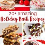 collage of 20 holiday bark recipes