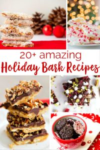 Over 20 HOliday Bark recipes that are perfect for gifting at Christmas. I always make some for neighbor and teacher gifts!