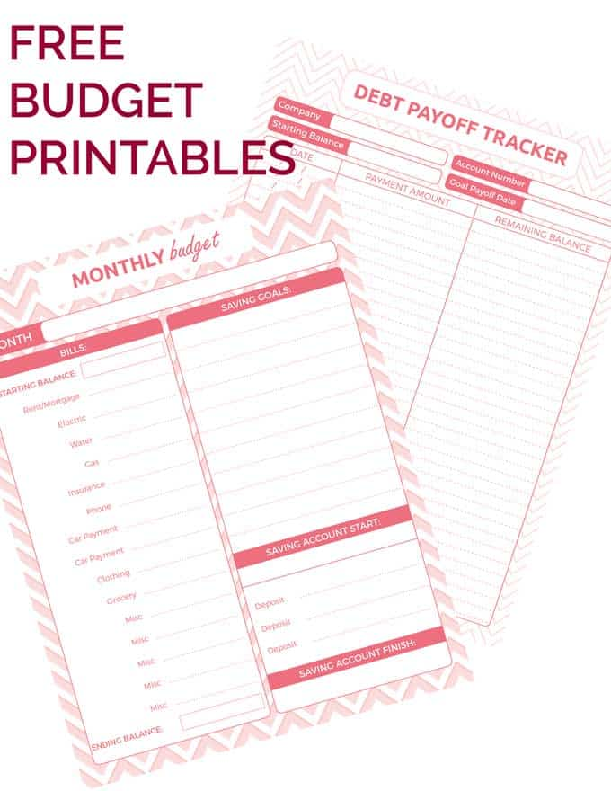 A close up of pink budget printables