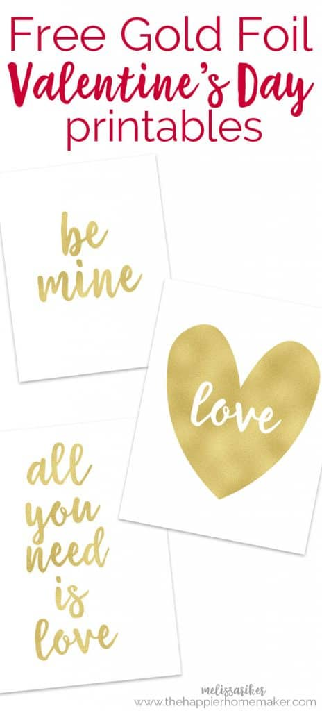 """A gold heart with \""""love\"""" written in white cursive in the middle of the gold heart next to gold cursive letters saying \""""be mine\"""" and \""""all you need is love\"""""""