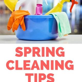 spring cleaning tips written with photo of cleaning supplies