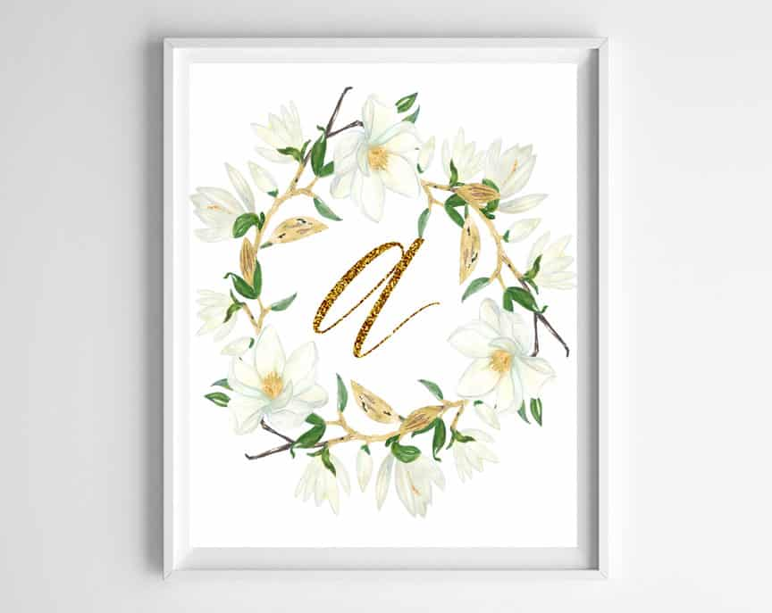 image regarding Free Monogram Printable titled Free of charge Printable Monogram Artwork - Magnolia Wreath With Gold Letters