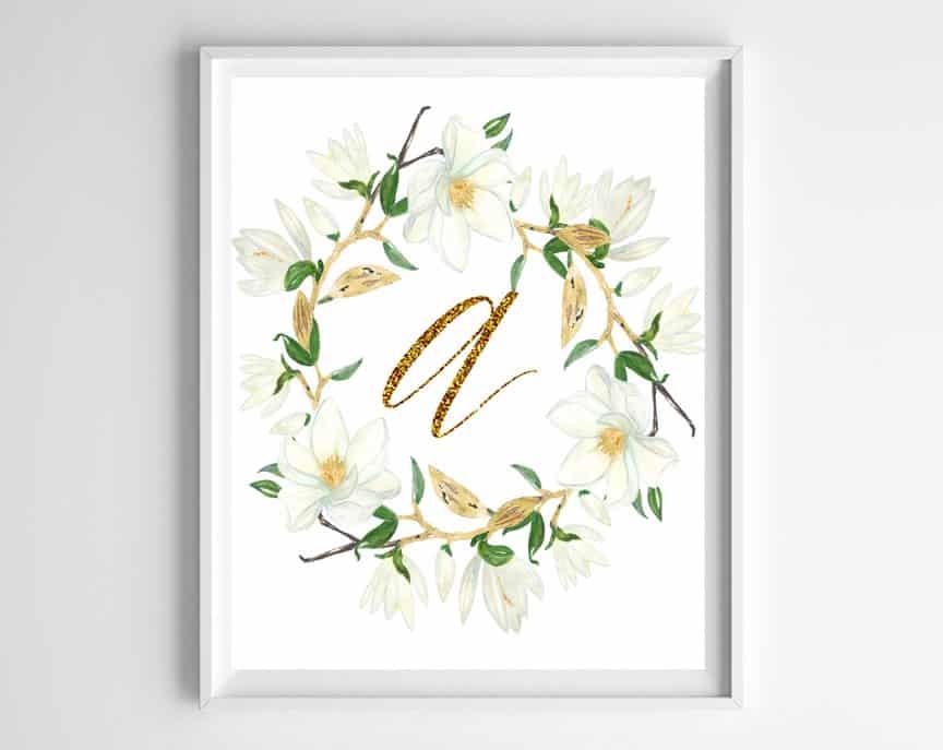 Free printable magnolia wreath monogram printables to decorate your home!