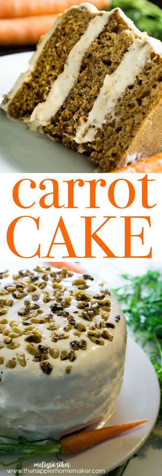 Classic Carrot Cake recipe with dense, moist perfectly spiced texture and plenty of rich cream cheese frosting!