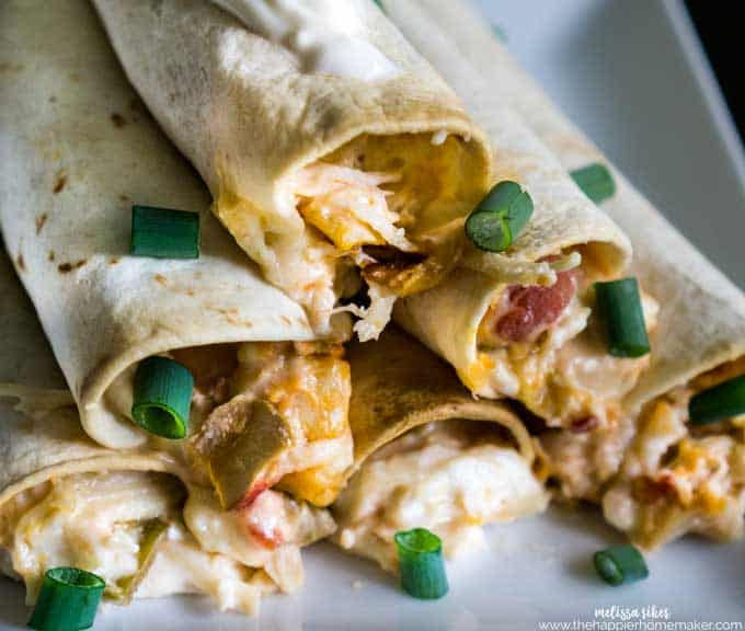 These creamy, cheesy chicken taquitoes have just 5 ingredients and bake up quickly-perfect for appetizers or pair with rice or beans for a fast weeknight meal!