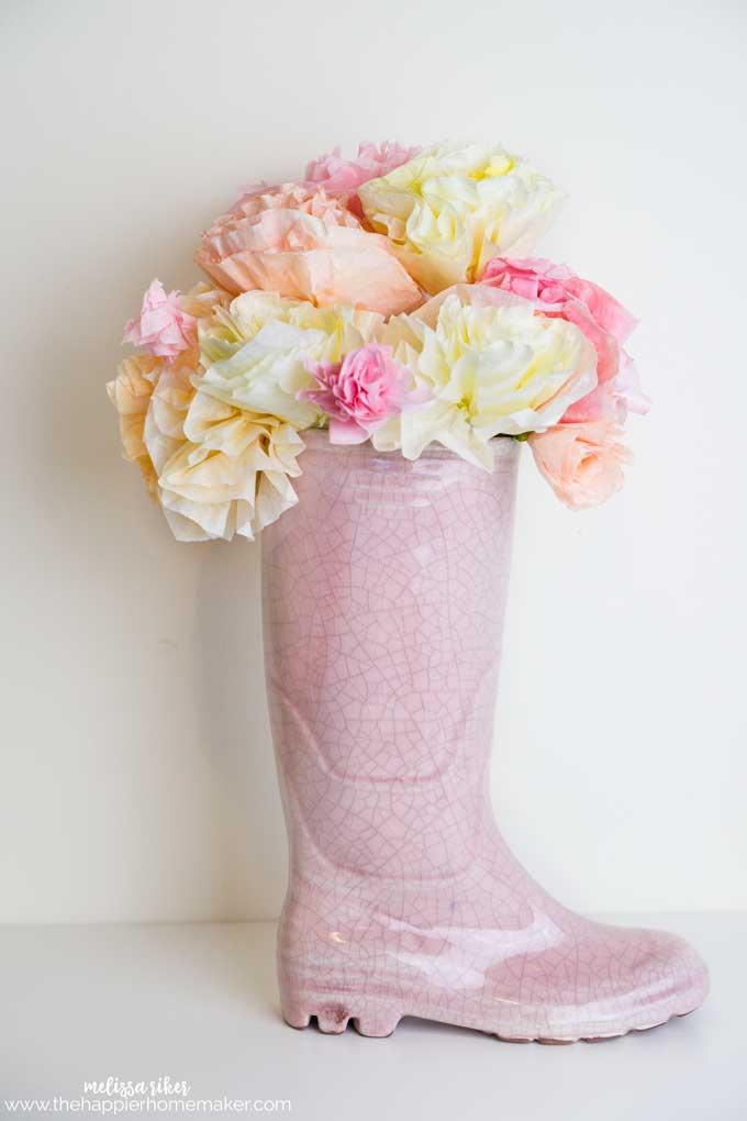 Springtime Coffee Filter Flower Bouquet | The Happier Homemaker