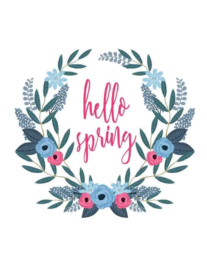 hello spring written inside drawn wreath